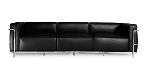 Kardiel Le Corbusier Style LC3 Sofa 3 Seat, Black Aniline Leather