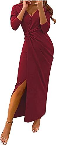 DFLYHLH Alta Split largo formal vestido de fiesta sexy profundo cuello en V fruncido abrigo maxi vestido sin espalda vestido de noche largo vestido de fiesta, Vino, XL