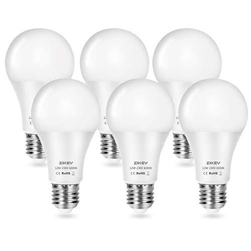 ZIKEY Lampadina LED E27, 12W Equivalenti a 100W, A65 Luce Bianca Fredda 6000K, 1100LM, non dimmerabile - Pacco da 6