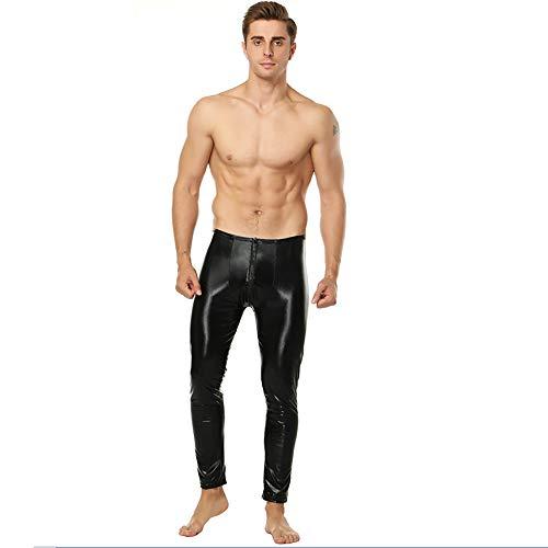 AFYH Herren Lacklederhosen, Stretchhosen, Enge Hosen, Halloween-Kostüm, Glänzendes Lackleder, Hautfreundlich/Bequem, Schwarz,XL