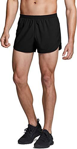 TSLA Men's Active Running Shorts, 3 Inch Quick Dry Mesh Jogging Workout Shorts, Gym Athletic Marathon Shorts with Pockets, Paceshorts(mbh23) - Black, Small