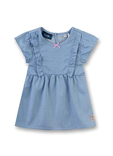 Sanetta Baby-Mädchen Dress Woven Kleid, Blau (Ice Blue 50304), 62 (Herstellergröße: 062)