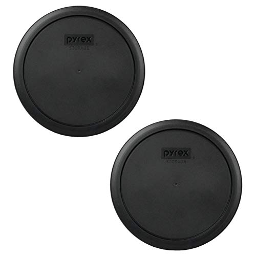 Pyrex 7402-PC 6/7 Cup Black Round Plastic Food Storage Lids - 2 Pack