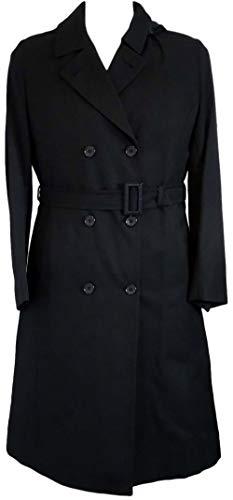Zwarte Gabardine Regenjas met Riem & Afneembare Hood
