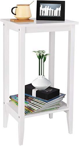 Homfa Table de Chevet Table de Canapé en Bois Bout de Canapé Table d'Appoint avec 2 Étagères 40×30×73.5cm Blanc