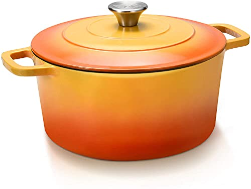 CSK Cast Iron Dutch Oven, 5 Quart Oven Pot with Stainless Steel Knob and Loop Handles, Cast Iron Round Pot with Nonstick Enameled Coating, Ideal for Family, Sunset Red
