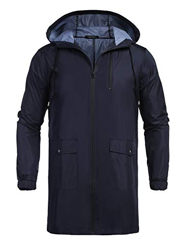 COOFANDY Men's Waterproof Hooded Rain Jacket Lightweight Windproof Active Outdoor Long Raincoat Navy Blue