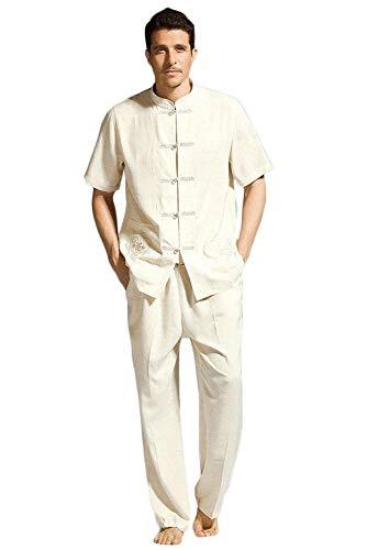 WGFGXQ Uniformes de Tai Chi, Ropa China, Traje Tang, Traje Tradicional Chino Antiguo, Artes Marciales Masculinas, Tangzhuang Kung Fu, Chaqueta de Manga Corta, Trajes, Camisa, Uniforme, Tela para ho