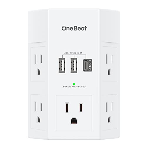 Surge Protector, Power Stirp, 5 Widely Outlet Extender with 3 USB Charging Ports(1 USB C), 3 Side 1800J Multi Plug Outlets Wall Adapter Charger for Home Travel Office, ETL Listed