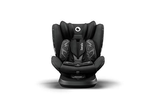 Lionelo Bastiaan One silla de coche bebe desde el nacimiento hasta los 36 kg giratoria a 360 grados Isofix Top Tether cinturón de seguridad de 5-puntos (Negro)