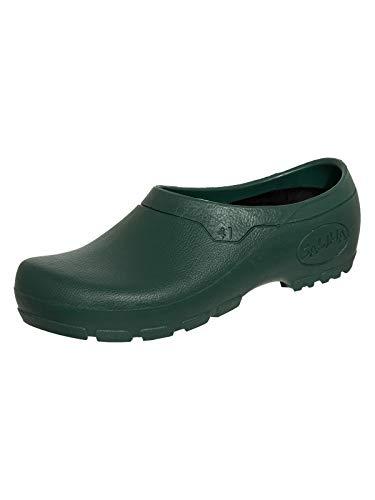SALIHA Multi Clog extra ligero – Certificado EN20347:2012 – Clase de seguridad OB SRC FO – con plantilla extraíble lavable, color Verde, talla 45 EU
