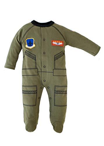 Baby Boys Aviator Flight Suit Future Pilot Sleeper 0-12 Mo Olive W Black Trim (0-3 mo)