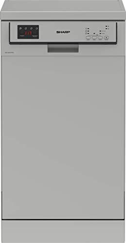 Sharp QW-HS12F47ES-DE Freistehender Geschirrspüler / 45 cm/E / 10 Maßgedecke / 3 Programme mit 50 min. Kurzprogramm/Dunkles Silber