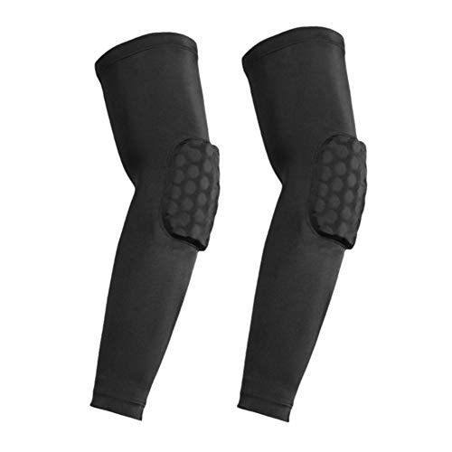 Elbow Pads, Basketball Shooter Sleeves, Collision Avoidance Hex Padded Arm Sleeves for Volleyball Football Baseball Cycling (Black-L 2 Sleeves)