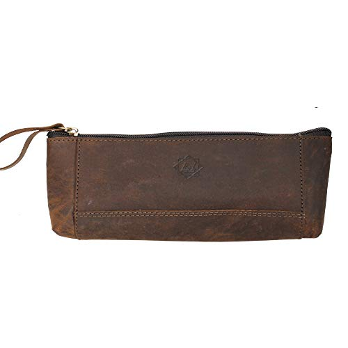 Leather Pencil Case with Zipper - for Stationery Art Supplies College and Office in Brown color by Birch Leathers