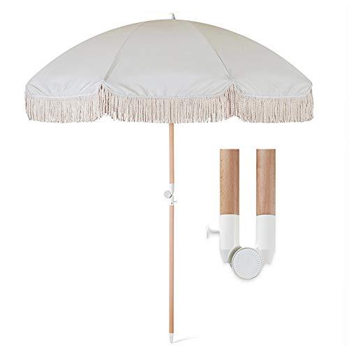 Parasol Sombrilla para Jardín Terraza Playa, Sombrilla Redonda Protección Solar Y Protección UV, con Bisagra Plegable, Sombrilla De Borla Blanca