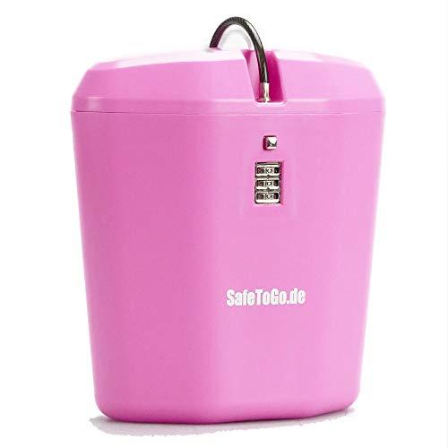 Strandtresor zum Anketten Abschließen Wertsachen-Box Zahlenschloss Strand Beach SafeToGo Mini-Safe Reisezubehör Urlaub Gadget praktisch, Farbe:pink/rosa