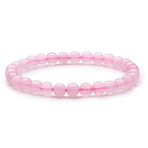 Bracelet de Quartz Rose Bracelet en Perles Bracelet en Pierre Naturelle Bracelet en Perles 6mm Bracelet Élastique Bracelet Femme Bracelet Extensible Semi Précieuse Cadeau Noel