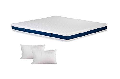 PerDormire - Kit Materasso sfoderabile in Memory Alto 20 cm Mis. 160x190 + 2 Cuscini Extra Soft Foam