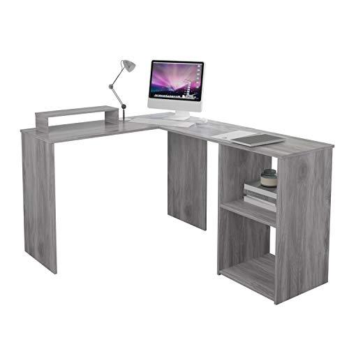 EUCO Computer Desk,Grey Office Desk L-Shape Wood Corner Workstation Desk Large PC Gaming Desk Study Table for Home/Office,135x112cm