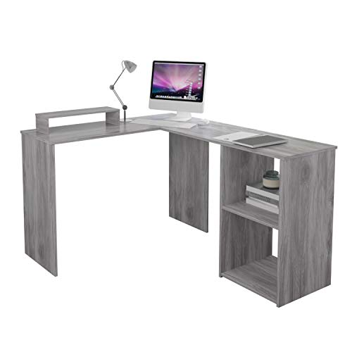 L-Shape Computer Desk with Shelves Storage,Wood Corner...