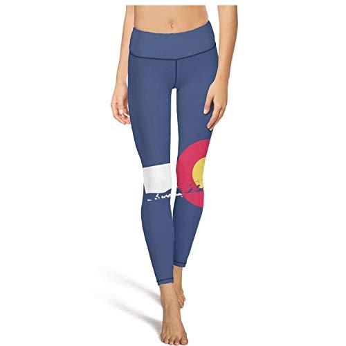 Womens Yoga Pants Colorado Flag and Mountains high Waist Sexy Yoga Leggings with Pockets