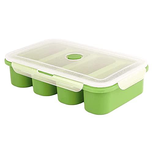 Contenitori di zuppa di silicone con coperchio vassoio di tazza di ghiaccio Super cubetti di stoccaggio alimentare Contenitori congelatore 4 cubi per salsa pasto preparazione contenitori verde