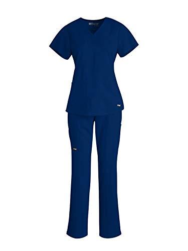 Grey's Anatomy 71166-4277 Women's V-Neck Top - Straight Leg Pant Medical Scrub Set Indigo S-S