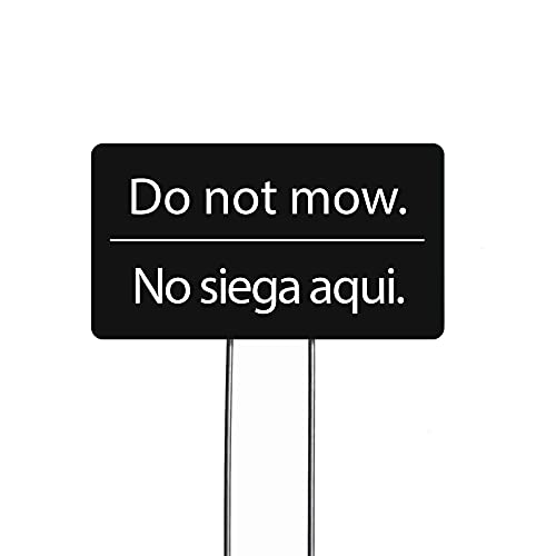I'm Retired! Do Not Mow Garden Markers, Bilingual Yard Sign, Set of 2 (Black)