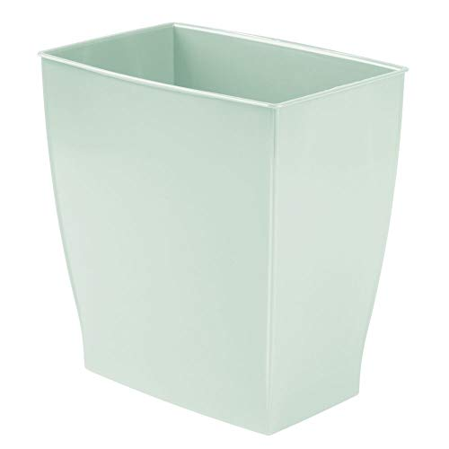 mDesign Rectangular Trash Can Wastebasket Small Garbage Container Bin for Bathrooms Powder Rooms Kitchens Home Offices  ShatterResistant Plastic  Mint Green