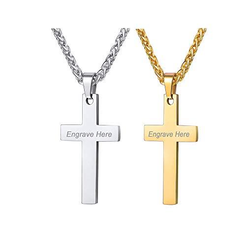 VNOX Personalize Customize Men's Women's Cross Necklace Set 2/3/4/5 Simple Plain Cross Pendant Necklace/316L Stainless Steel Rolo Chain 60cm,Christmas/Birthady Gift