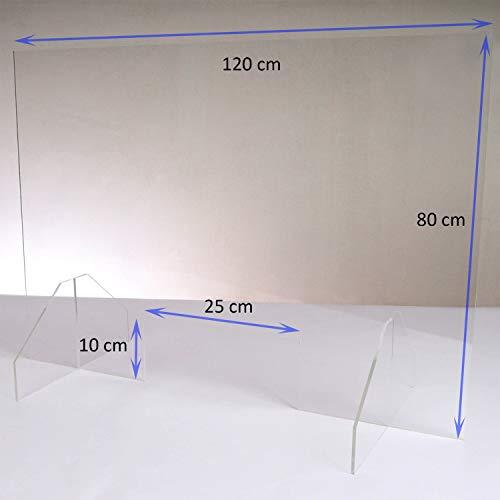 Queence | Hochwertiger Spuckschutz aus Acrylglas | Ideal für Verkaufs-/ und Empfangstresen | Thekenaufsteller | Protector, Größe:120x80 cm