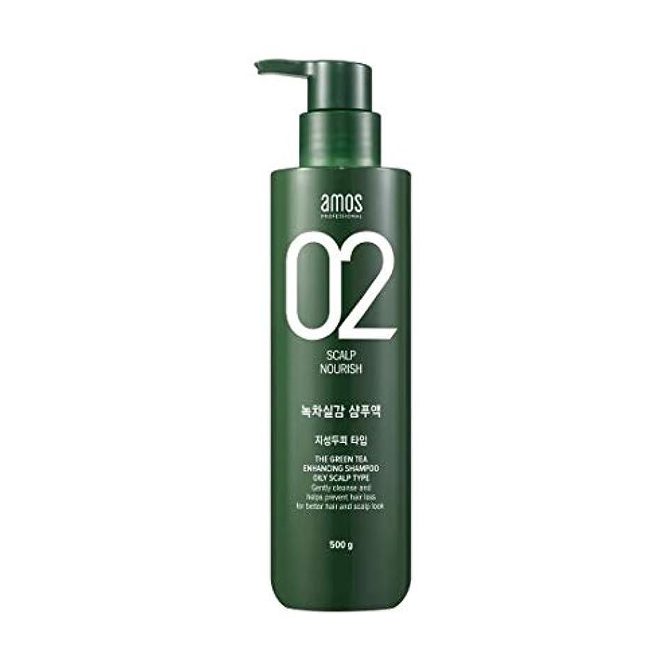 歯痛装備するきれいにAmos Green Tea Enhancing Shampoo -Oily 500g / アモス ザ グリーンティー エンハンシング シャンプー # 脂性 オイリー スカルプタイプ [並行輸入品]