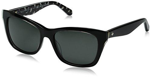 Kate Spade New York Women's Jenae Square Sunglasses, Black Cream Transparent/Gray Polarized, 53 mm