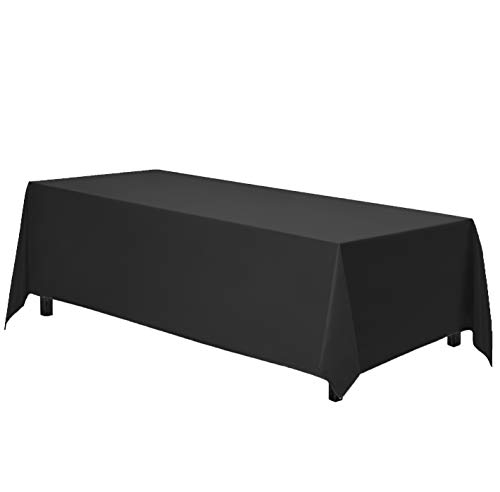 Gee Di Moda Rectangle Tablecloth - 70 x 120 Inch - Black Rectangular Table Cloth in Washable Polyester - Great for Buffet Table, Parties, Holiday Dinner, Wedding & More