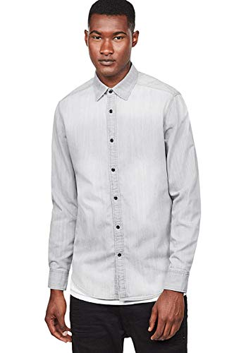 G-STAR RAW Herren Landoh Clean Shirt L/S Jeans Hemd, Grau (Lt Aged 424), Small