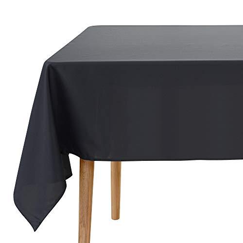 Amazon Brand - Umi Nappe Rectangulaire Grise Foncé Impermeable Nappe Noel pour Mariage Anniversaire 132x178 cm pour Table Basse