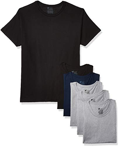 Hanes Men's Tagless Comfort Soft Crew Undershirt – Multiple Packs and Colors, 6 Pack-Black/Gray Assorted, Small