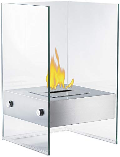 Carlo Milano Ethanol Dekofeuer: Bio-Ethanol Deko-Feuer im Glaswürfel-Look (Bioethanol Stand Kamine)