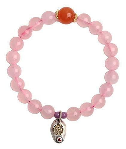 AnimeFiG Pulsera de cuarzo rosa natural, cuentas redondas de chakra, pulsera Feng Shui, riqueza, amuleto de la suerte, regalos chinos para la curación, dinero para la suerte y valiente