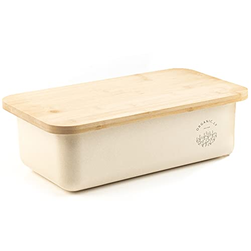White Bread Box for Kitchen Countertop - Large Storage Container and Bread Holder Bin - Rustic Farmhouse Feel and Counter Decor Aesthetic - Bamboo Wood Lid Fits Perfectly on Breadbox Saver and Keeper