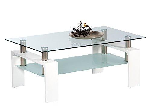 Stella Trading MANGO II Couchtisch Glas in Hochglanz weiß - geräumiger Glastisch mit Glasblage für Ihren Wohnbereich - 100 x 46 x 60 cm (B/H/T)