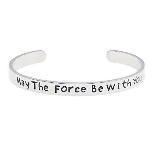 LParkin May The Force Be with You Brazalete de acero inoxidable de alto acabado pulido brazalete para hombres y mujeres M