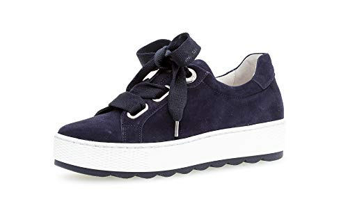 Gabor Damen Sneaker, Frauen Low-Top Sneaker,Comfort-Mehrweite,Optifit- Wechselfußbett, schnürschuh sportschuh Plateau-Sohle,Bluette,40.5 EU / 7 UK