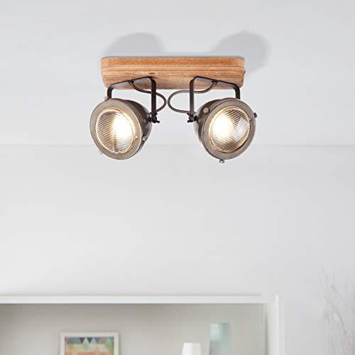 Lightbox - Lámpara de techo de 2 focos, orientable, 2 casquillos GU10, para máx. 5 W, metal, acero marrón.