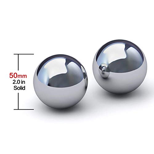 Stainless Steel Baoding Balls.Solid Style,no Chime,Chinese Health Massage Balls for Hand and Wrist Strengthening,Therapy, Exercise (50mm 2.0in)