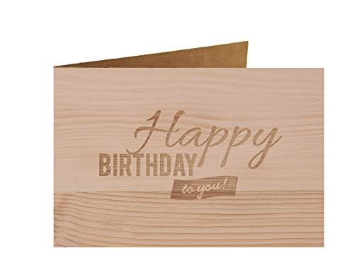 Holzgrußkarte - Happy Birthday - 100% handmade in Österreich - Postkarte, Geschenkkarte, Grußkarte, Klappkarte, Karte, Einladung, Glückwunschkarte Zirbe