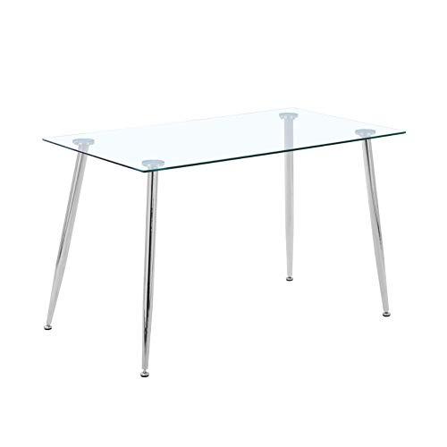 GOLDFAN Esstisch aus Glas Rechteckiger Moderner Esstisch Küchentisch Mit Metallbeine für Wohnzimmer Esszimmer Büro, Silber