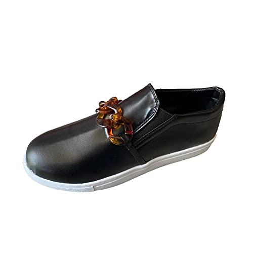 Casual Mocassini per le donne Comfort Slip On Flats Leggero Leopard Catena Mocassini Chiuso Punta Rotonda Low Cut Formatori Zapatos para Mujer, Nero , 37.5 EU