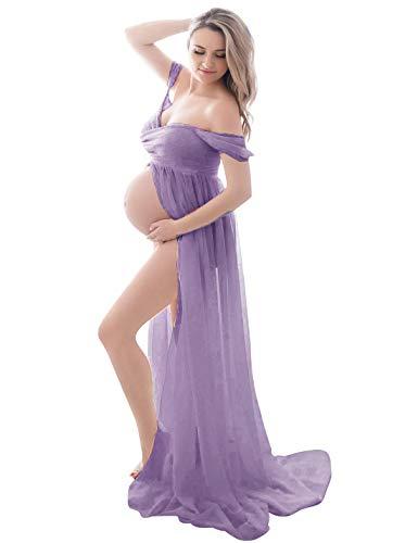 FEOYA - Vestido para embarazadas de maternidad fotográfica, vestido sexy largo, falda de muselina de seda, abertura frontal para recuerdos fotográficos, Estilo 1 morado claro, S